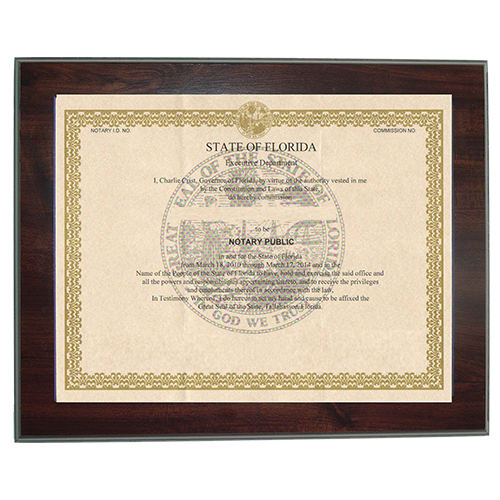 Illinois Notary Commission Certificate Frame 8.5 x 11 Inches