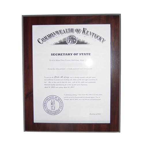 Illinois Notary Commission Certificate Frame