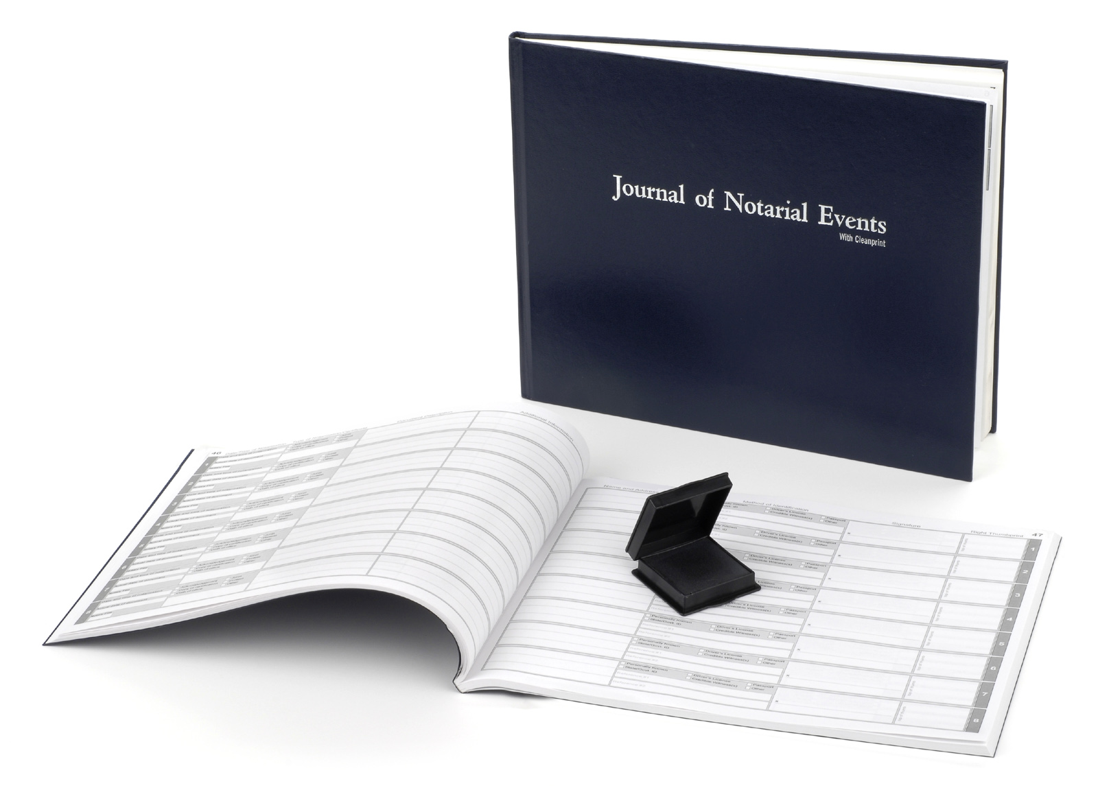 Illinois Hard Cover Notary Journal with Inkless Thumbprint Pad
